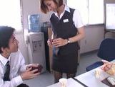 Gorgeous office milf Akari Asahina gives an arousing footjob picture 8