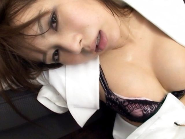 Beautiful Japanese secretary rides cock