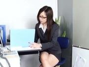 Leggy office lady Nozomi Yui gets seduced and enjoys hot copulation