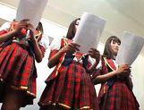 Kinky group of schoolgirls takes dildoes and vibrators in them pussyes. picture 13