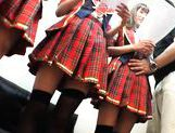 Kinky group of schoolgirls takes dildoes and vibrators in them pussyes. picture 14