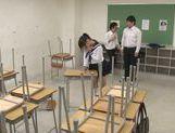 Japanese AV Model horny schoolgirl enjoys sex in class picture 12