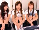 A kinky group fuck scene starring 3 horny japanese school babes. picture 1
