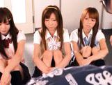 A kinky group fuck scene starring 3 horny japanese school babes. picture 2