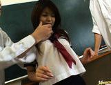 Riko Araki in school uniform classroom group fuck picture 5