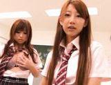 Kokomi Naruse, Hiyori Nanoka and Hinami Kawasumi share one cock in a foursome! picture 11
