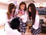 Kinky Japanese school babes getting some cock in her pussies. picture 15