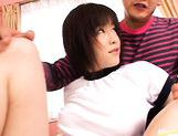 Kinky shaved pussy girl Kasumi Uehara group sex picture 4