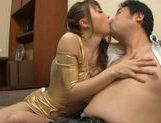 Redhead Asian pervert Ayumu Sena in tight gold latex teasing and fucked on the couch picture 11
