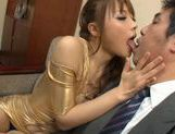 Redhead Asian pervert Ayumu Sena in tight gold latex teasing and fucked on the couch