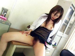 Mai Hanano Asian babe is a teacher who masturbates