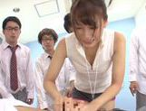 Sexy Yui Ooba pleases two male in awesome threesome picture 12