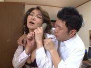 Hot mature Mio Takahashi gets huge boobs licked