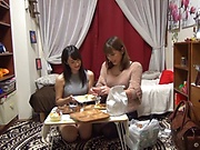 Lesbians in stockings are using sex toys