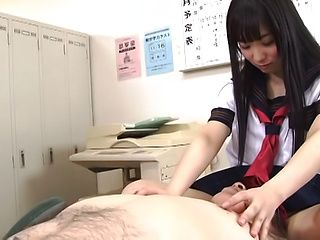 Cute schoolgirl Eikawa Noa pleases old teacher's hard cock