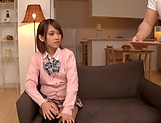 Amateur schoolgirl fucked hard in Japanese home show picture 1