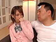Amateur schoolgirl fucked hard in Japanese home show