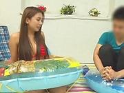 Naughty Mei Matsumoto in bikini gets her big tits fucked