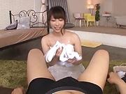Ookura Miyu performs a sloppy ball licking