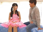 Hot Nanase Miku gets her gaping wet muff fisted indoors