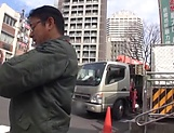 Alluring Tokyo babe gets her hairy pusys fucked by a stranger picture 14