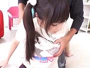 Beautiful teen hottie enjoys getting her melons teased