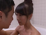 Big tits Asian babe gets her wet muff drilled deep indoors picture 14