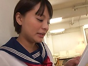 Cutie Aoyama Mirai in smiles after a nice fuck