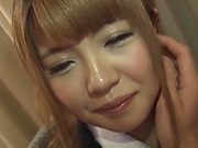 Hot Asian blonde gets a kinky toy session indoors