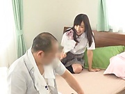 Stunning Japanese schoolgirl enjoys licking and fucking in pov