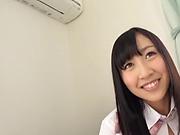 Stunning Japanese schoolgirl enjoys licking and fucking in pov