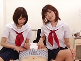 Beautiful schoolgirls expertly tug and blow a hard sweet pole picture 12
