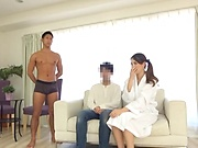 Teen in sexy lingerie shares passionate XXX trio with two
