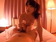 Naughty Asian hottie Aya Miyazaki in raunchy handjob scene