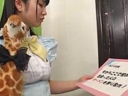 Maid sucks master's big cock then swallows the sperm