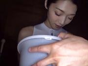 Alluring Asian teen Kanae Renon gives a handwork and sucks a cock