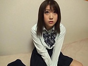 Amateur schoolgirl from Japan Nanase Moe gets toyed and poked