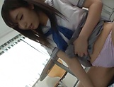 Young Japanese schoolgirl gives a steamy handjob picture 15