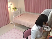 Amateur Japanese schoolgirl gets her hairy pussy pleasured