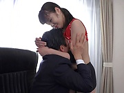Shameless teen Ootori Kaname fucks with her boss on the table