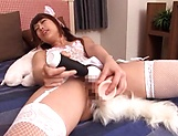 Hot Japanese girl in stockings Himari Saijo enjoys anal penetration