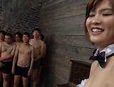 Sexy Asian darling Ogata Runa enjoys bukkake action