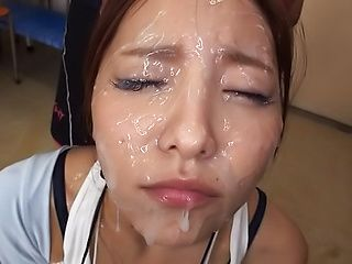 Kinky babe sucks dicks until her face all covered in sperm