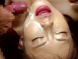 Cute Japanese AV model Konishi Yuu enjoys group sex gets a facial