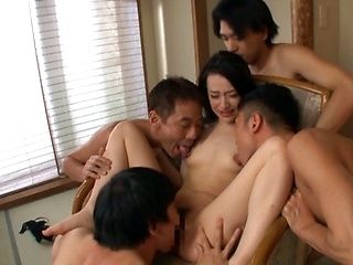 Cock loving Japanese babe Nanase Mai cannot stand four cocks