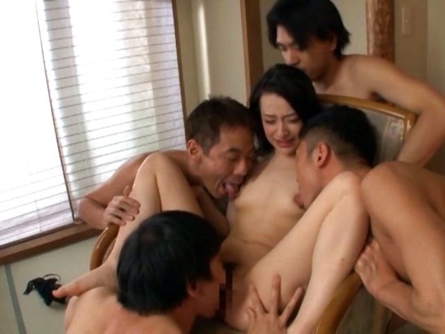 Naked Nanase Mai fucked hard by a group of men