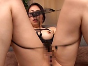 Busty milf gets sperm on face after naughty porn play