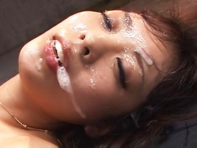 Hardcore princess Fujii Arisa has cum on her face