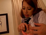 Temptress gags on a bulging shaft picture 15