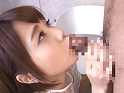Cheerful Japanese girl Ogura Kana gets a massive facial cum load